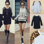 Fashion Women Ladies Leopard Print Long Sleeve Casual Loose T Shirt Tops Blouse