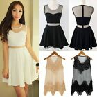 Stylish Sweet Elegant Women Lady's Sleeveless Net Yarn Slim Mini Vest Dress S0BZ