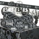 13/13TH Birthday BLACK/SILVER GLITZ Party Range (BIRTHDAY/Plates/Napkins/Banner)
