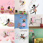 Fashion Flower Girl Removable Vinyl Wall Sticker Decal Mural DIY Wall Home Decor