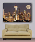 "Seattle night skyline Huge canvas print with moon Size 30""x40"""
