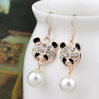 1 Pair Crystal Rose Flower Eearrings Cute Pearl Gold Long Dangle Wedding
