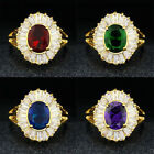 Womens AAA Trendy 18k Gold Filled Sapphire Luxury Size 7-9 Anniversary Ring Gift