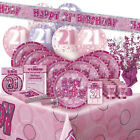 ALTER 21/21ST GEBURTSTAG ROSA GLANZ PARTY REIHE Ballon/Dekoration/Banner/