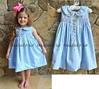 Smocked A Lot Dress Memama's Garden Blue Embroidered Flowers Birthday Vintage