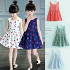 Summer Kids Baby Girls Floral Sleeveless Princess Dress Party Pageant Dresses