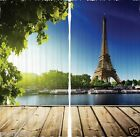 Eiffel Tower Paris Summer CURTAIN PANEL Set River Boat Living Bed Room Window