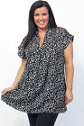 eaonplus POLKA DOT Black Funnel V-Neck Kaftan Tunic Top PLUS SIZES 18/20 - 30/32