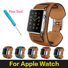 Real Leather Cuff Band Straps Bracelet For Apple Watch + Adapters Series 2 / 1