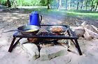 Camp Grill Over Fire Iron Cookware Heavy Duty Folding Outdoor Grill