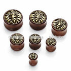 0G-3/4'' Golden Lion Head Orgainic Sono Wood Solid Ear Plugs Tunnels Expander