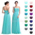 Long A-Line Chiffon Bridesmaid Dress Women's Party Prom Evening Dress Strapless