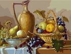 Still Life Grapes Pears Vintage Design Needlepoint Canvas 392