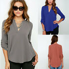 New Women V Neck Solid Chiffon Blouse Sexy lady Long Sleeve Blusa Blouses Shirt