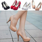 Women Round Toe Pumps High Heels Platform Patent Leather Stilettos Fashion Shoes