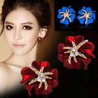 Fashion Women Starfish Flower Crystal Rhinestone Ear Studs Earrings Jewelry New