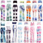 Sexy 2-piece Tie Dye Flared Trousers High Waist Long Pants Trousers Party Club