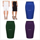 Women Lady Slim Fitted Knee Length Bodycon Pencil High Waist Career Skirt EN24H