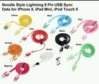 1M FLAT NOODLE LIGHTENING USB CABLE 8 PIN for iphone 5 5c 6 6 PLUS ipod, ipad