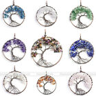 1Pc Chic Gemstone Crystal Gravel Bead Tree of Life Copper Wire Wrap Pendant Gift
