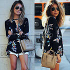 VINTAGE WOMEN'S LONG SLEEVE CHIFFON TOP CASUAL LOOSE FLORAL SHIRT FASHION BLOUSE