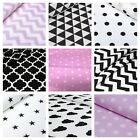 LOVELY black, white and pink 100% COTTON FABRIC
