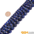 """Blue Lapis Lazuli Gemstone Faceted Polygonal Beads For Jewelry Making 15"""" 6-12mm"""