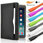 For iPad PU Leather Case Classical Smart Wallet Case iPhone Lightning Data Cable