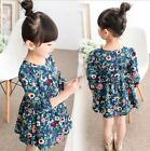 New Cotton Baby Girls Long Sleeve floral  Dress Fit  6M-3Years