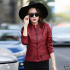 2016 Autumn New Womens Leather Lapel motorcycle jacket zip stand collar jacket