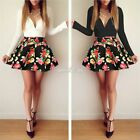 Womens Low V Neck Skater Pleated Floral Party Cocktail Formal Mini Dress S0BZ