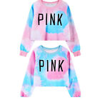 Women's Colorful Tie Dye Pink Letters Print Sweatshirt New-style Girl's Sweater