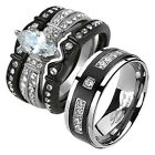 His & Hers 4 Rings Black Stainless Steel & Titanium Wedding Engagement Band Set