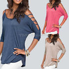 New Fashion Women's Loose Cotton Tops 3/4 Sleeve Shirt Casual Blouse T Shirt