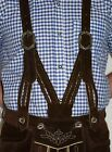 Внешний вид - SUSPENDERS LEATHER German Lederhosen Shorts Pants Oktoberfest Trachten ~ BRAIDED
