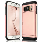 For Samsung Galaxy S6 edge Plus Wallet Card Holder Pocket Rugged Hard Case Cover