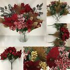 Job Lot Of 12 x Artificial Christmas Flowers *Poinsettas,Berries,Holly etc*
