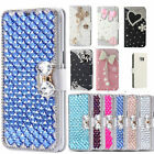 Bling Diamond Crystal Leather Flip Kickstand Wallet Card Case Cover for LG
