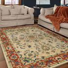 Ivory Scrolls Curls Medallion Traditional-Persian/Oriental Area Rug Floral 3809