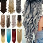 Long Double Thick Full Head Weft human Synthetic Hair Extensions 18Clips in Q72