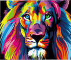 Colorful Portrait Of Lion Needlepoint Canvas  H172