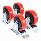 125mm Heavy Duty Castor Wheels Set Rubber Swivel Trolley Caster Brake 600KG
