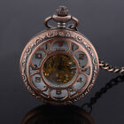 Antique Steampunk Wind-up Roman Dial Skeleton Mechanical Pocket Watch Gift Retro image