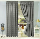 JACQUARD LINED THERMAL PENCIL PLEAT PAIR OF CURTAINS, GREY  - VERONA