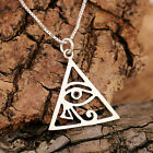 925 Sterling Silver Filigree Pyramid With Evil Eye Pendant Necklace & Gift Box
