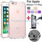 Shockproof Crystal Clear TPU Case Back Cover + Tempered Glass For iphone 7/ Plus