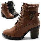 Ollio Women Shoe Lace Up Back Buckled Stacked Heel Ankle Combat Boots Multicolor
