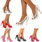 Ladies New Stiletto Peep Toe Mid High Heel Court Prom Party Wedding Bridal Shoes