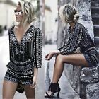 Vintage Womens Summer V Neck Long Sleeve Sexy Playsuit Jumpsuit Romper Shorts