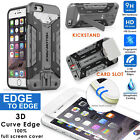 Shockproof Hybrid Hard Impact Stand Armor Case+Full Cover Glass Screen iPhone 6S